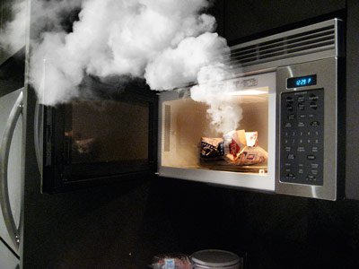 smoke comes out of microwave oven